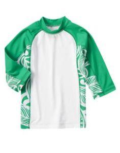NWT GYMBOREE SWIM SHOP GREEN/WHITE LONG SLEEVE SIZE 10 SWIM SHIRT RASHGUARD #Gymboree #SwimShirt