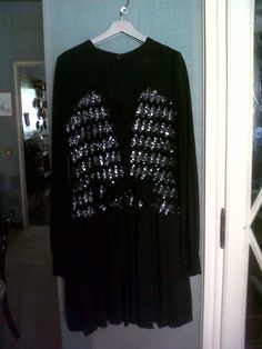 beginning 50s black chiffon and paillettes Charleston evening dress. Cravero tailor in Turin Italy. Haute couture
