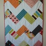 Chevron cot/crib quilt, lovely bright 'Oh Deer' fabric  by kyliesquiltingcorner on madeit