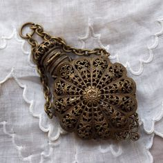 Antique Perfume Bottle Chatelain Brass Filigree Pendant