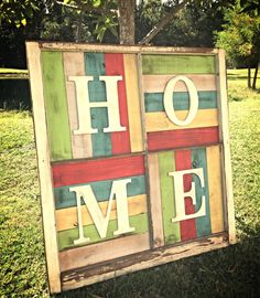 HOME in an old window frame by CharlaGriffinDesigns on Etsy
