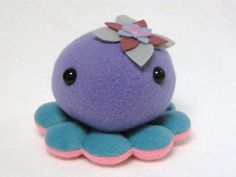 Octopus plush animal with flower by mamamayberrys on Etsy, $23.00