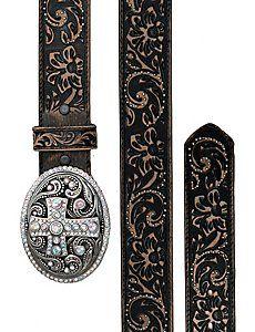 Justin® Women's Vintage Black Tooled Leather w/ Crystal Cross Buckle Western Belt