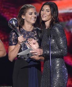 Best team: Alex Morgan and Hope Solo of the US women's soccer team and their teammates acc...
