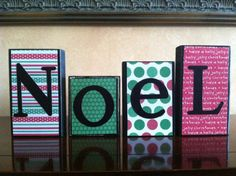 Wood NOEL Christmas block sign set  wood home by WoodnExpressions, $15.00