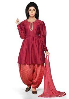 Buy Dark Old Rose Cotton Silk readymade Flared Kameez with Dhoti Pant online, work: Plain, color: Rose, usage: Casual, category: Salwar Kameez, fabric: Cotton, price: $79.50, item code: KJN1478, gender: women, brand: Utsav