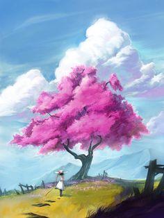 Patipat Asavasena Manga / Anime Illustrations by Patipat Asavasena Manga Art, Manga Anime, Anime Art, Image Manga, Anime Kunst, Anime Scenery, Chalk Pastels, Pastel Art, Tree Art