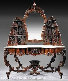 Table-Dressing; Victorian, Rococo Revival, Meeks (J&JW)?, Rosewood, Floral Mirror, Marble Top, Scrollwork Legs.1850-1860