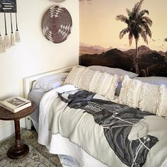 "Pebble Hill Design & Creative on Instagram: ""The eye has to travel… Globally inspired guest room decor by Pebble Hill Design... #pictorial #wallpaper #palms #tropical #balinese…"""