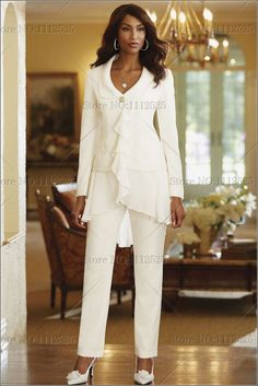 Ivory Chiffon mother of the bride pants suitS with jacket wholesale US $142.00