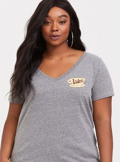 d81035d8 Plus Size Gilmore Girls Grey V-Neck Tee, MEDIUM HEATHER GREY Sleek Look,