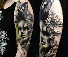 Face, Cat, Flowers tattoo by Timur Lysenko