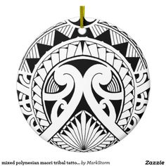 mixed polynesian maori tribal tattoo coconut leaf Double-Sided ceramic round christmas ornament