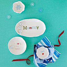 Father's Day or Mother's Day | Handmade gift | What you'll need: White air-dry clay, wax paper, small rolling pin, water, cooking oil, non-washable ink pad, rubber letter stamps or chipboard letters, cotton swab
