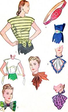 1940s Simplicity 1412 Cap Sleeve Poncho Blouse Neck Scarf Neck Bow and Belt Womens Vintage Sewing Pattern Bust 30 -32