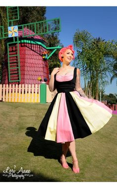 Just Desserts Dress in Black Sateen with Pink and Yellow