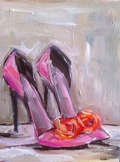 Dressy Heels in Pink Size: 6 x 8 Print of original painting by M.Devine. Printed on premium matter white medium weight paper, white border