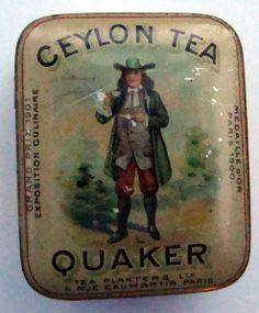 Quaker Ceylon Tea tea tin, with scene of man in colonial Quaker dress drinking tea on lid, early 20th century, UK