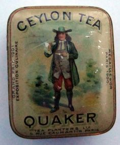 Quaker Ceylon Tea tea tin, with scene of man in colonial Quaker dress drinking tea on lid, early 20th century, UK