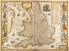 """Kingdome of England,"" John Speed, 1696 [1676]. A fine example of the map of England & Wales from Speed's Theatre of Great Britain. Embellished with the Royal Coat of Arms, six different species of sea monster, plus two sailing ships. Portraits of typical inhabitants of the land flank the map."