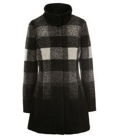 Ombre Plaid Coat, Black/White