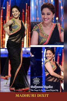 Madhuri Dixit Bollywood Replica Black Net and Velvet Saree with Embroidey and Lace Work