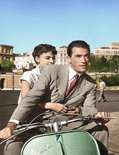 Gregory Peck & Audrey Hepburn, zipping around the streets of Rome in 'Roman Holiday', 1953.