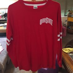 VS Pink Ohio State Buckeyes Pullover This is like brand new, without tags! No flaws! Size XS. Victoria's Secret pink, Ohio State Buckeyes pullover. It's like a thinner sweatshirt. Super cute! PINK Victoria's Secret Tops Sweatshirts & Hoodies