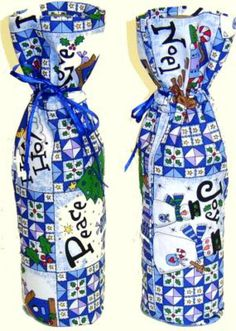 Make Your Own Fabric, Reusable Gift Wrap, Gift Bags and Package Bows: Free Directions to Sew a Fabric Bottle Gift Wrap Bag
