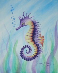 Art print Seahorse art print 11x14 Wall art Home by ArtByAmyBlake, $20.00