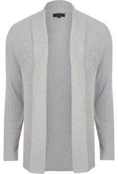 aabce03e6adf25 Grey cable knit open front cardigan - Cardigans - Sweaters & Cardigans - men