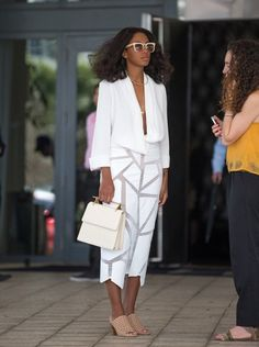 Solange Knowles's Art Basel Miami Beach Issey Miyake White Sheer Detail Dress and Tibi Net Shoes