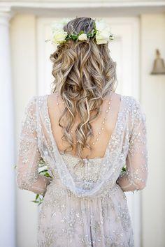 Palest grey wedding dress with swarovski embellishments