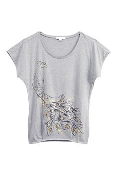 Golden Peacock Printed Grey T-shirt