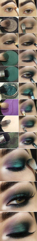 Wonderful Emerald Green Shade , Moss Green and Violet Makeup Tutorials