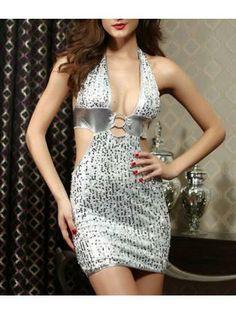 Shining Cutout Waist Plunging Neckline Silver Halter Dress