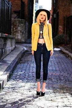 Shop this look on Kaleidoscope (blazer, shirt, pumps, hat) http://kalei.do/Wr1BiVauVzT48Udx