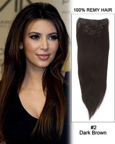 16 Inch 10pcs Straight Indian Clip In Remy Hair Extensions (#2 Dark Brown) 135g