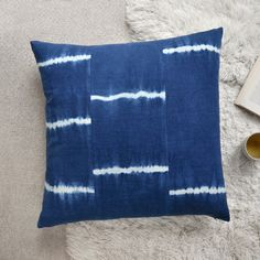 Shibori Stripe Floor Pillow  – 26x26 Indigo Cotton Cushion for Modern Home Decor