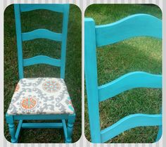Old beat up thrift store chairs have been #painted and #glazed in a gorgeous #turquoise!  We made a seat, added a cushion and pretty fabric.  All custom work done by Vintage Paints, Orlando FL.