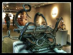 "As part of the San Luis Obispo Museum of Art's annual California Sculpture SLAM, Oakland artist Courtney Brown unveiled this unweildly typing device titled ""Self Organization,"" that went on to win first place. Brown used a 1938 Underwood typewriter affixed with sculpted bronze tenta"