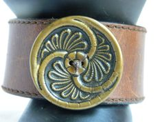 BOHO recycled leather belt cuff with Vintage Art Deco by FunkyRust, $20.00