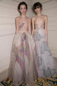 Ultra ethereal romantic style rainbows and clouds painting + embellishmed ball gowns Backstage at Valentino Spring Summer 2015 Haute Couture PFW.