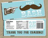 DIY personalized Mustache Bash Baby Shower Favor Water Bottle Labels - digital U Print. $6.99, via Etsy.