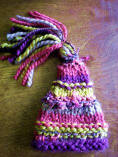 loom knitting | free pattern for loom knit elf pixie hat for newborn