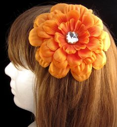 #Handmade Orange Flower and Jewel Hair Clip by ninjavspirategifts on Etsy, $8.00