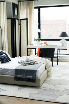 master bedroom wth black detailing