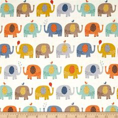 Baby Jungle Elephants Cream from @fabricdotcom  From The Henley Studio for Makower UK for Andover, this cotton print fabric features rows of adorable elephants playing with balloons, birds and water. Perfect for quilting, apparel and home decor accents. Colors include white, grey, taupe, brown, mustard, shades of blue, orange and burnt orange.