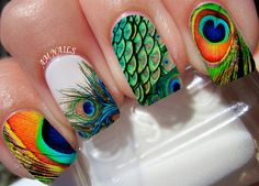 Peacock Feather Nail Decals by AMnails on Etsy