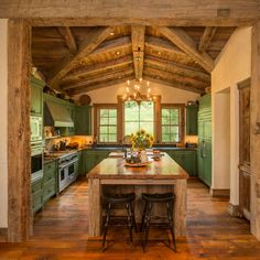 LOVE this rustic kitchen.